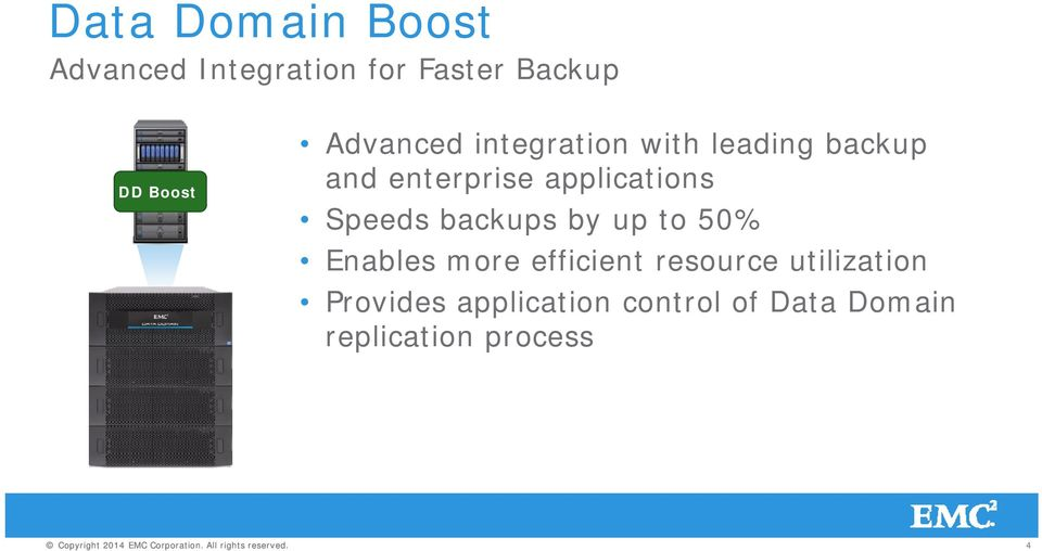 applications Speeds backups by up to 50% Enables more efficient