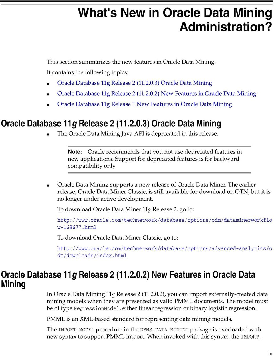 Oracle Data Mining  Administrator's Guide 11g Release 2 (11 2) E - PDF