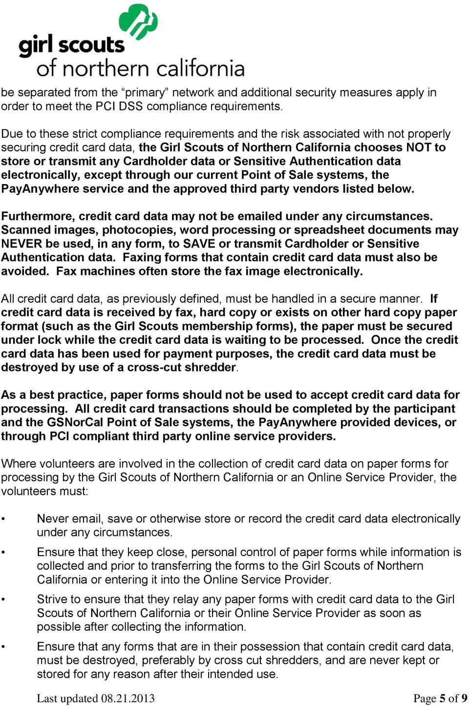PCI Compliance Information Packet for Volunteers - Credit