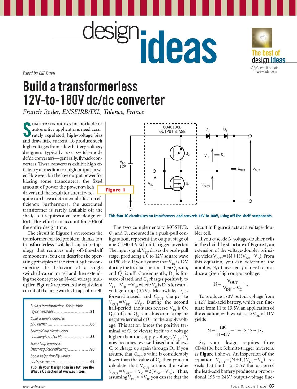 Cd40106b Output Stage V In The Two Complementary Mosfets Q 1 Pdf Positive Voltage Doubling Circuit Using Icl7660 Doubler These Converters Exhibit High Efficiency At Medium Or Power
