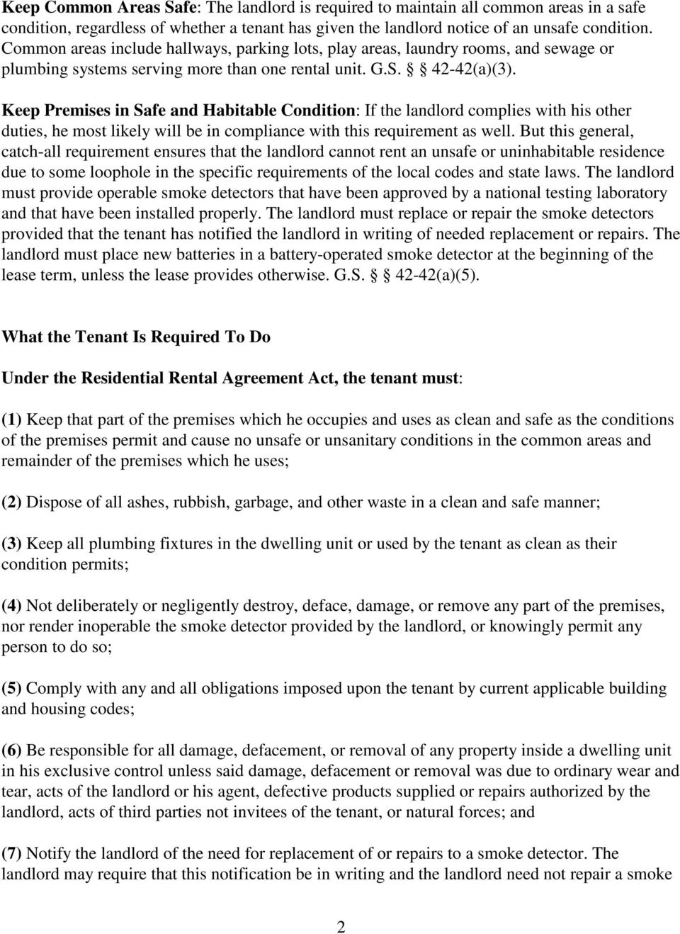 North Carolina S Residential Rental Agreement Act Pdf