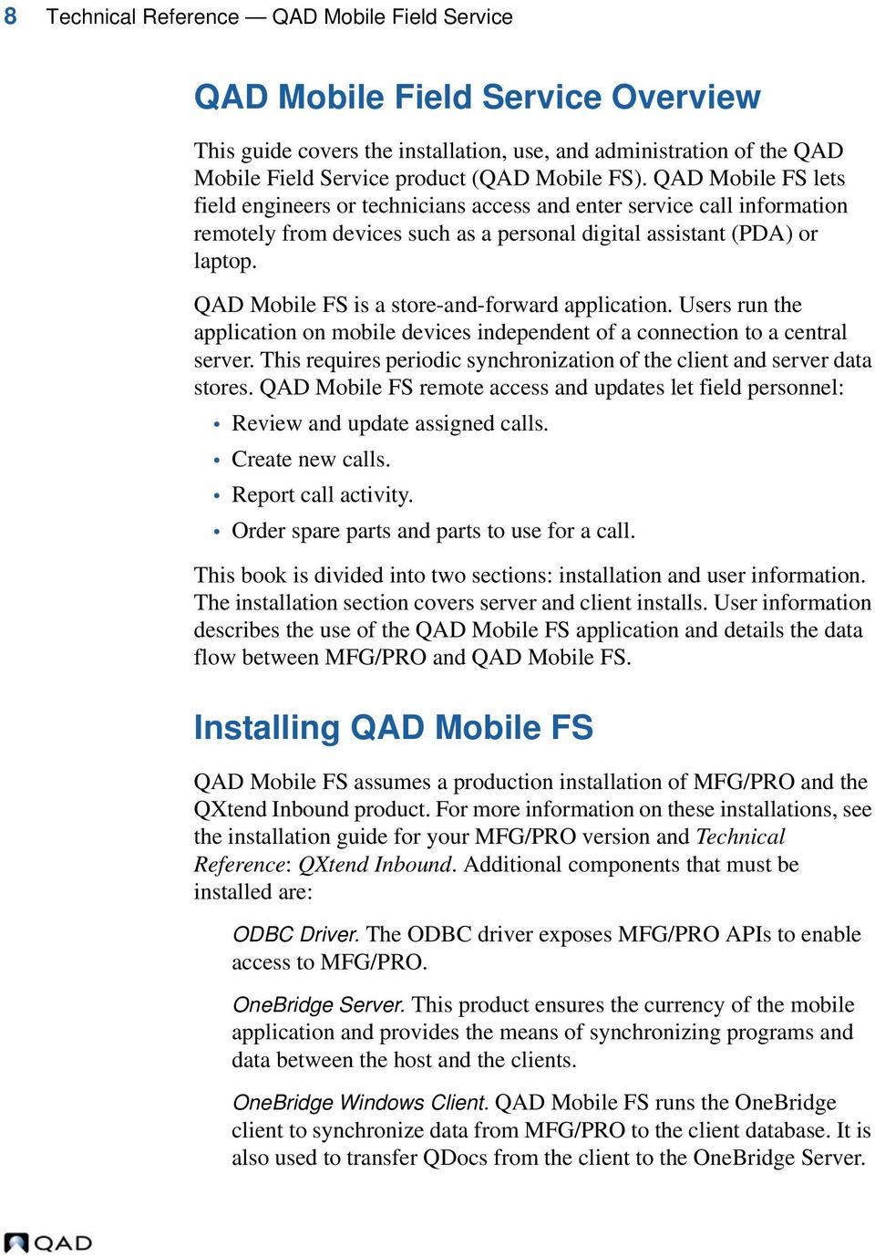 Technical Reference QAD Mobile Field Service  QAD Mobile FS