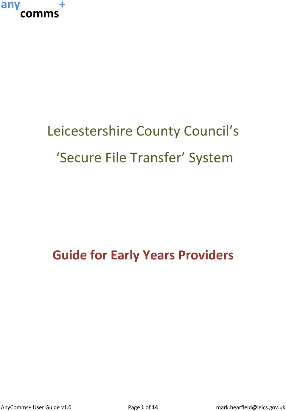 Early Years Providers AnyComms+ User Guide