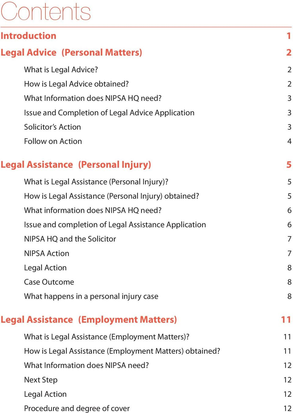 5 How is Legal Assistance (Personal Injury) obtained? 5 What information does NIPSA HQ need?