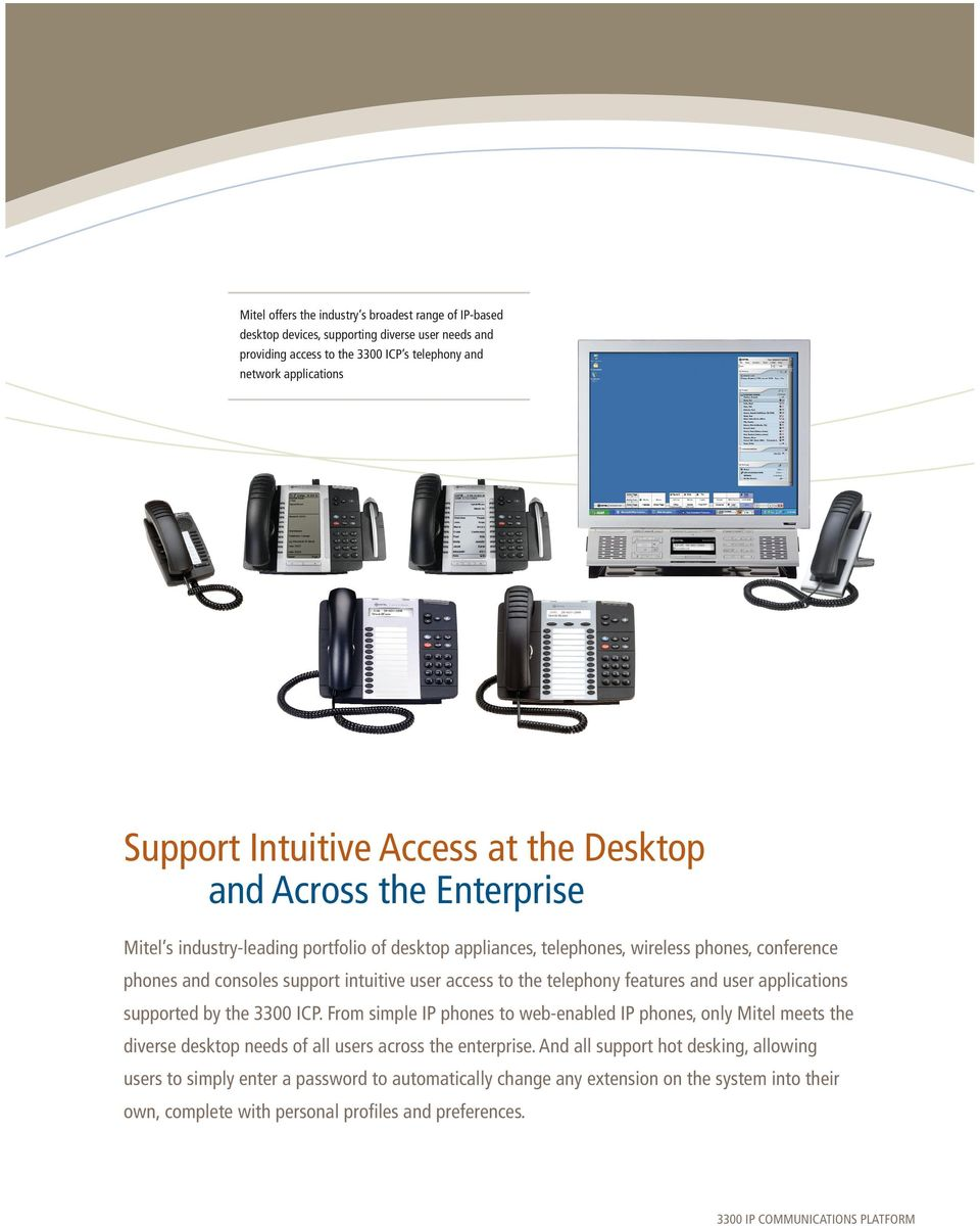 access to the telephony features and user applications supported by the 3300 ICP.