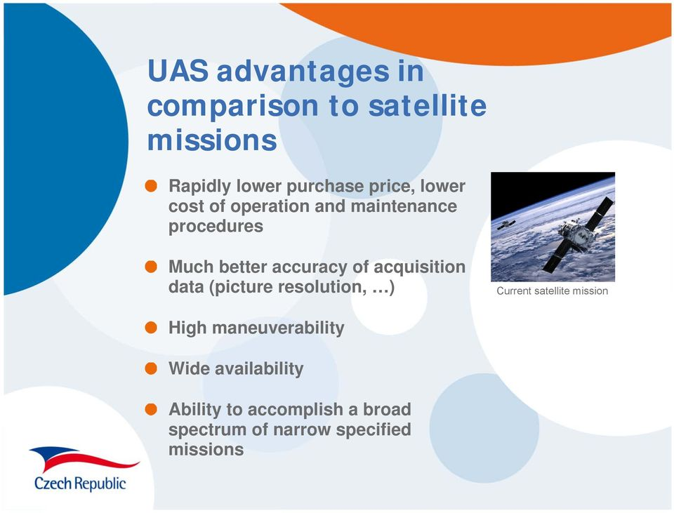 acquisition data (picture resolution, ) Current satellite mission High