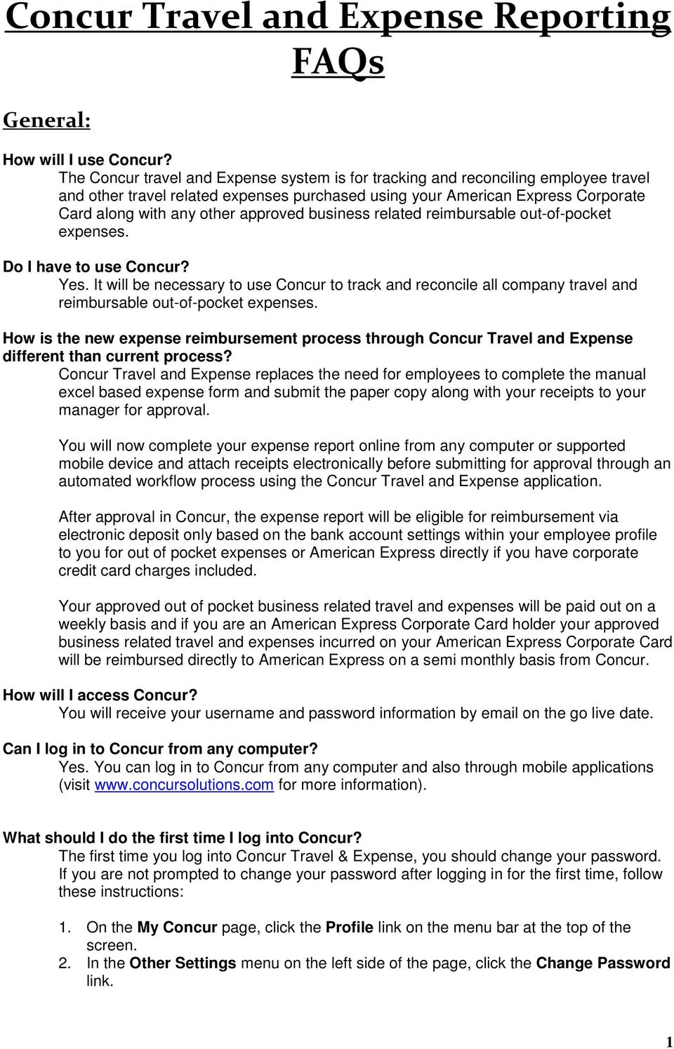concur travel and expense reporting faqs pdf