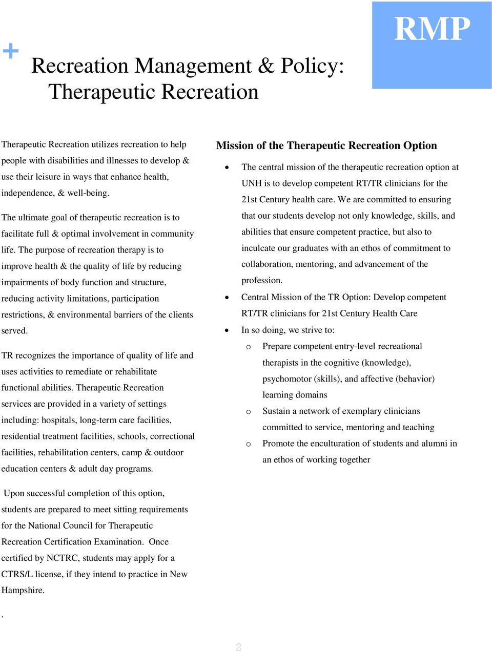 Recreation Management Policy Pdf