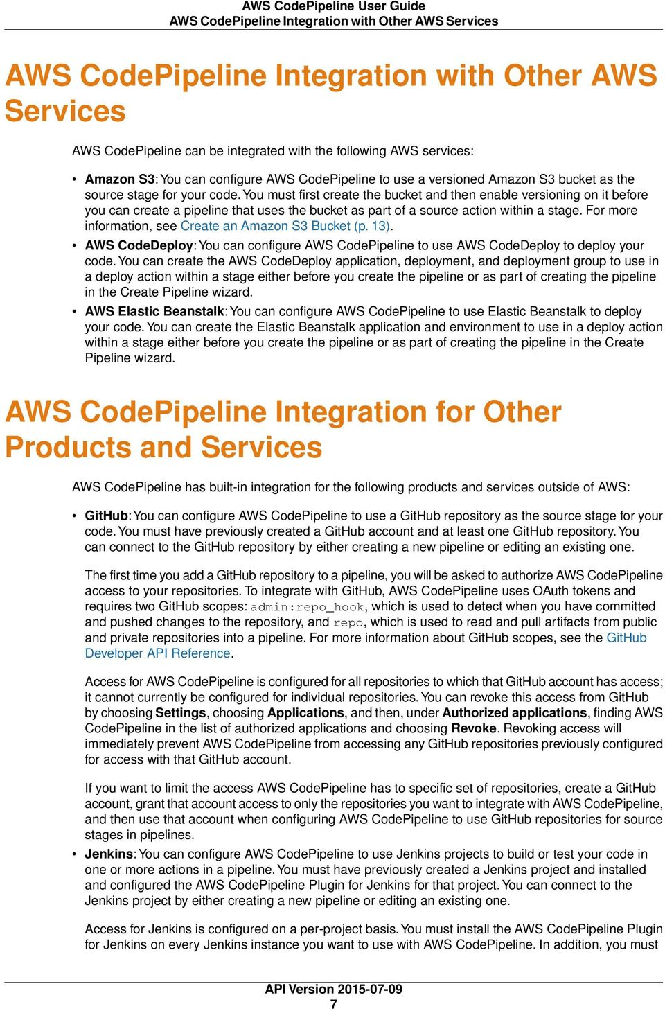 AWS CodePipeline  User Guide API Version - PDF