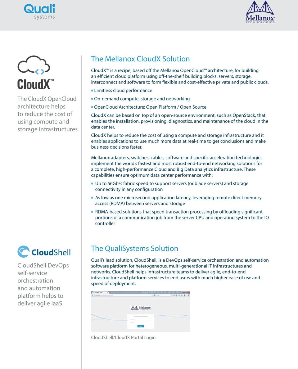 Limitless cloud performance On-demand compute, storage and networking OpenCloud Architecture: Open Platform / Open Source CloudX can be based on top of an open-source environment, such as OpenStack,