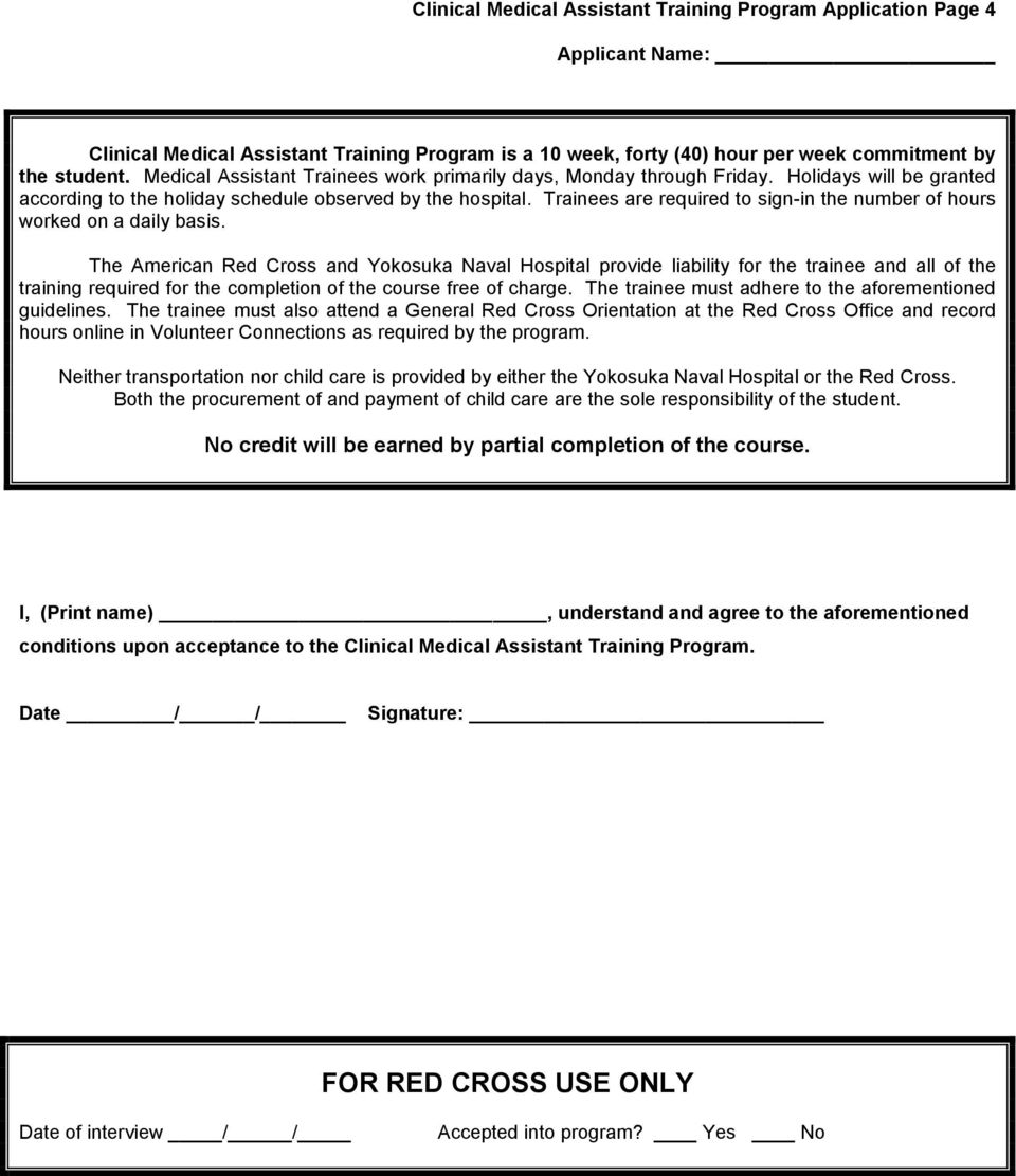 Clinical Medical Assistant Training Program Application