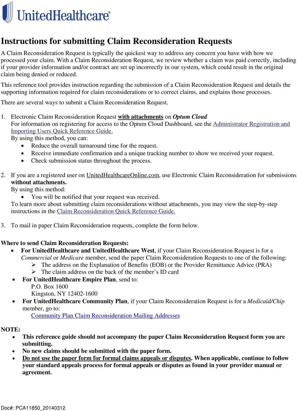 Instructions for submitting Claim Reconsideration Requests - PDF