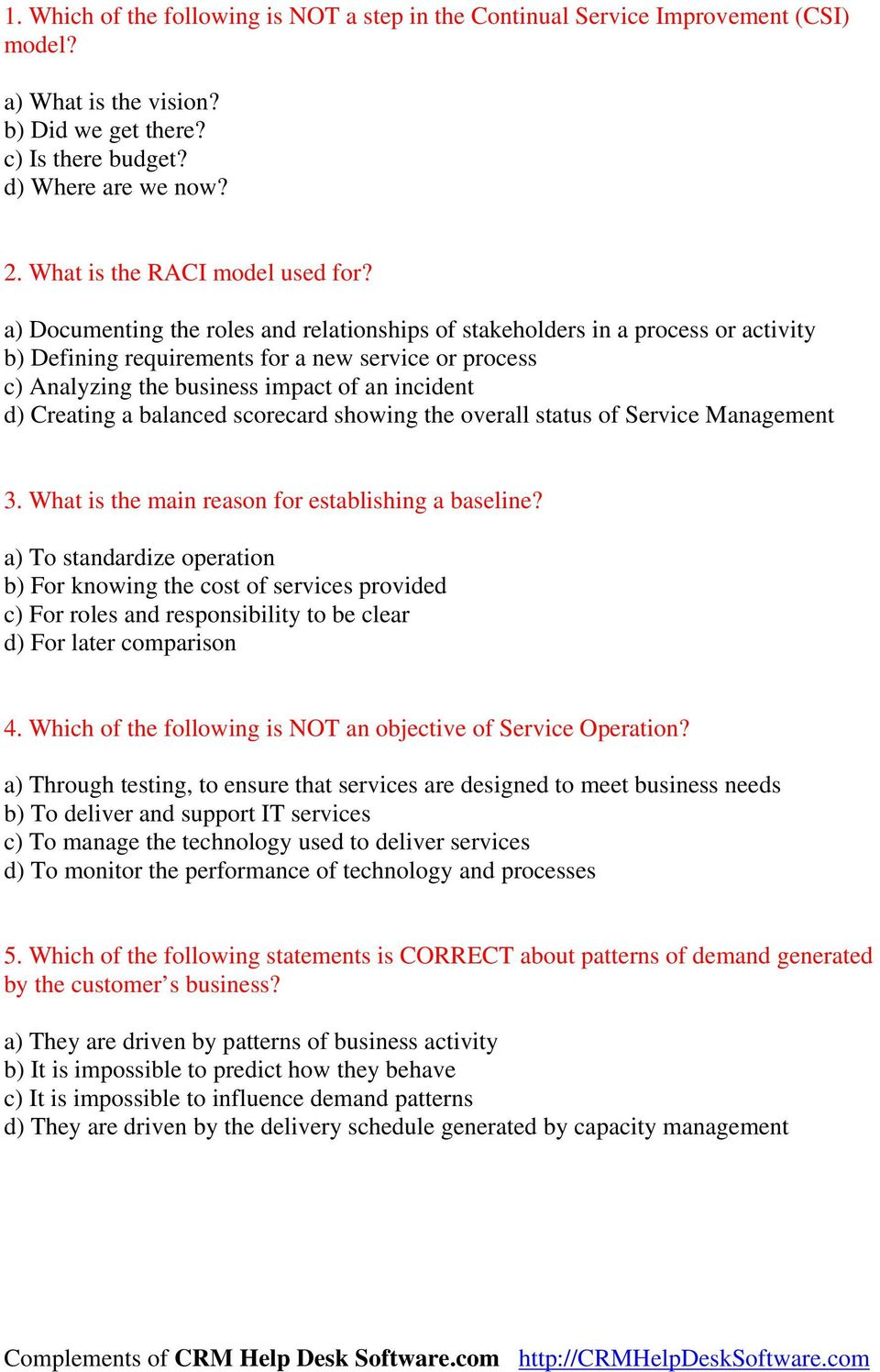 Itil Service Transition Sample Exam Questions