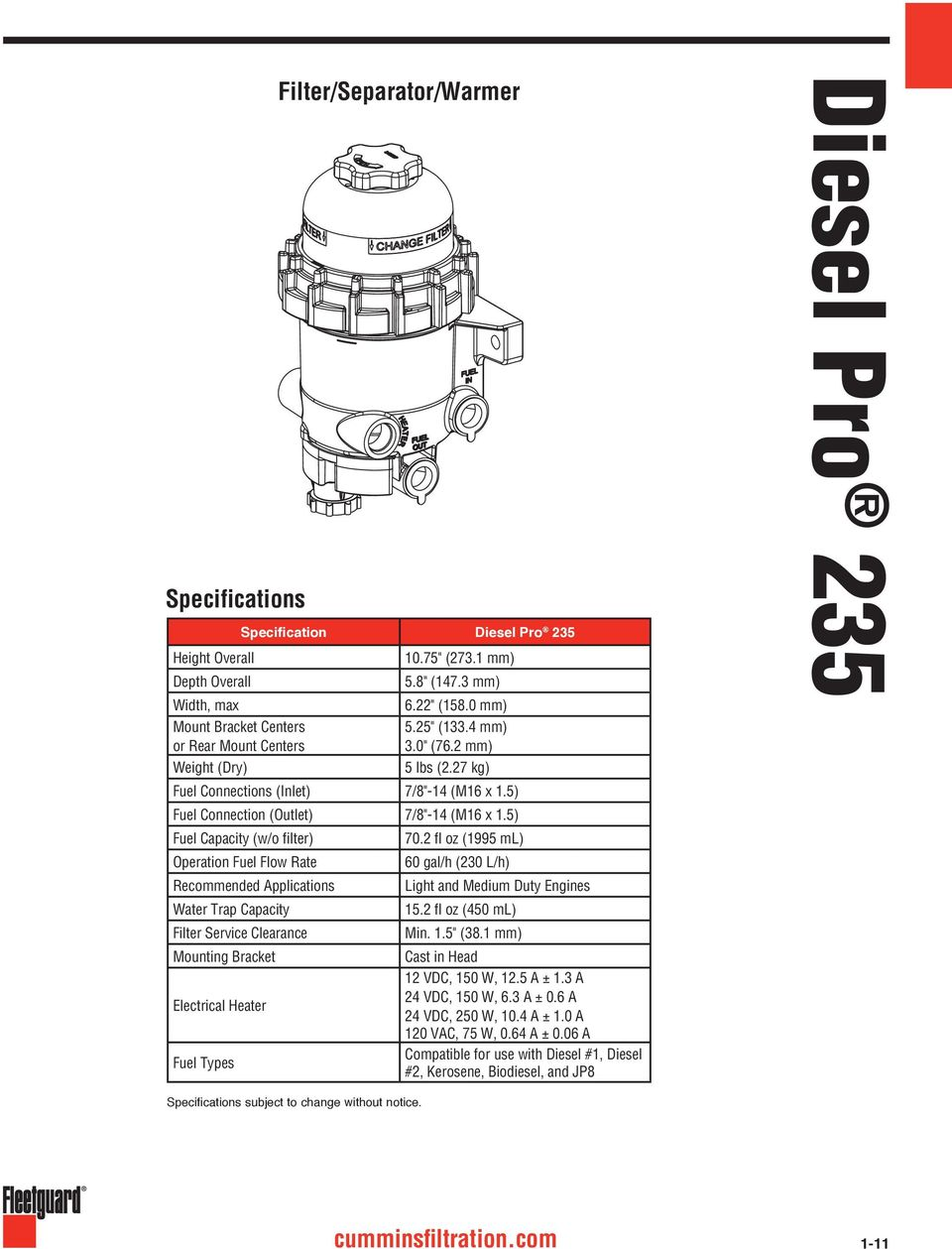 1 Fuel Filters And Water Separators Pdf Fleetguard For Diesel 2 Fl Oz 199 Ml Operation Flow Rate 6 Gal H