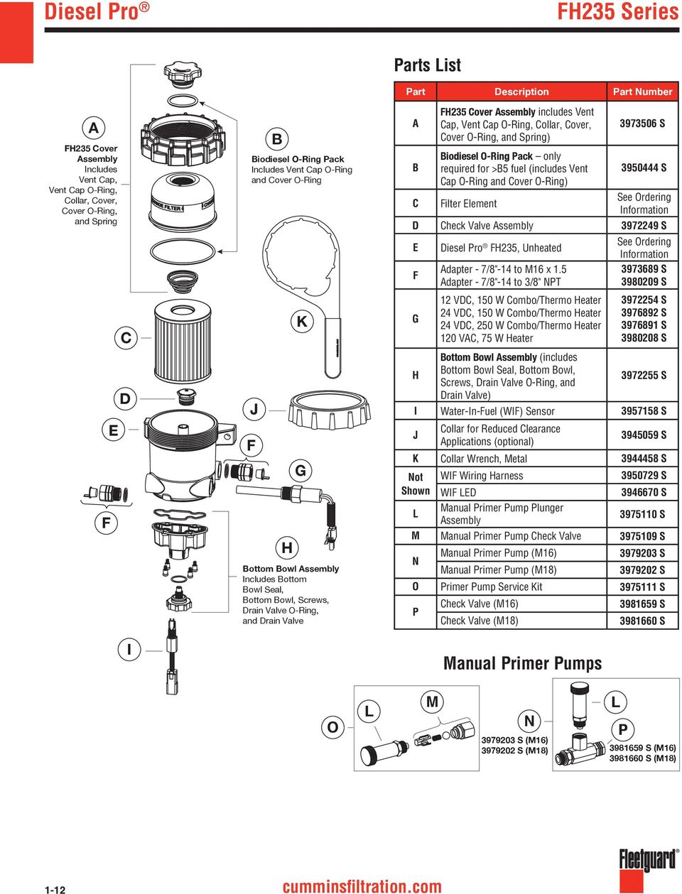 1 fuel filters and  fuel  water separators