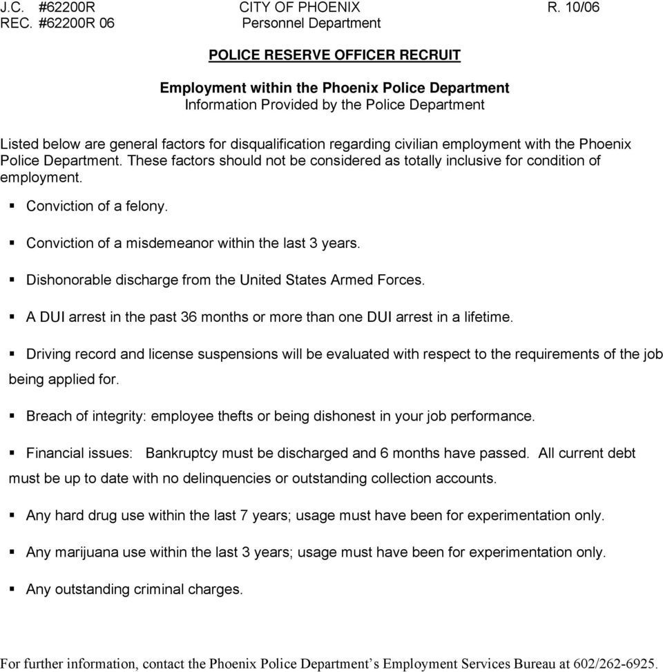Employment within the Phoenix Police Department Information