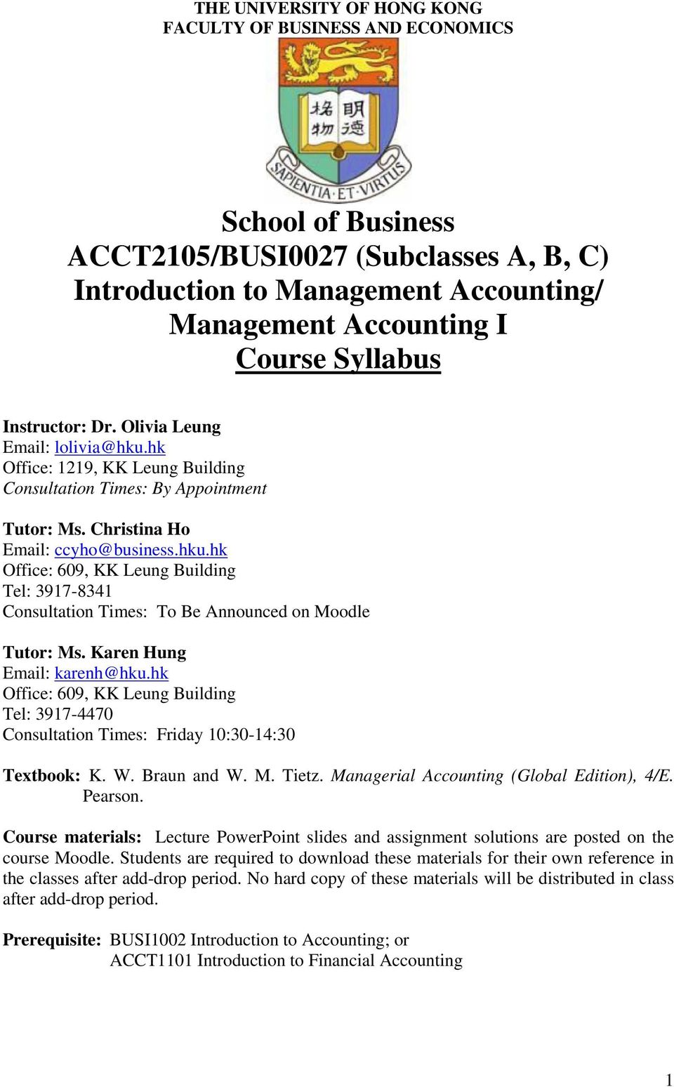 School of Business ACCT2105/BUSI0027 (Subclasses A, B, C
