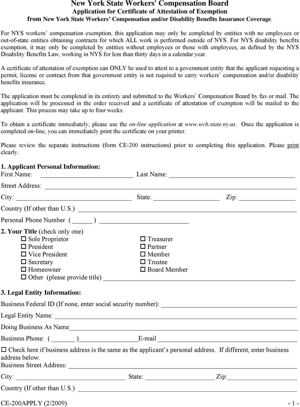 Ce 200 Certificate Of Attestation Of Exemption From New York State