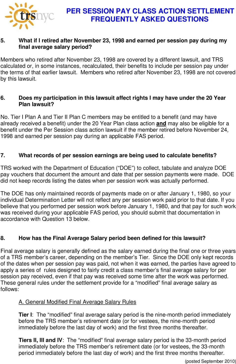per session pay class action settlement frequently asked questions - pdf