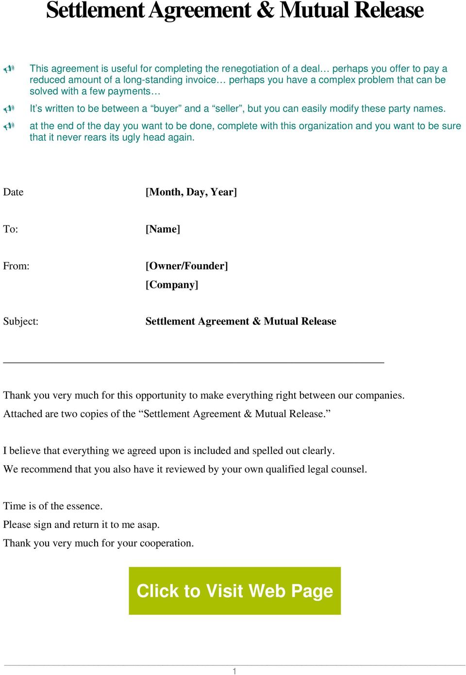 Settlement Agreement Mutual Release Pdf