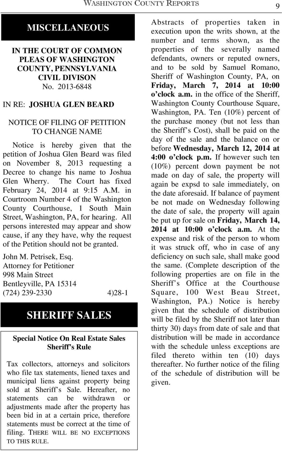ESTATE NOTICES FIRST PUBLICATION WASHINGTON COUNTY REPORTS 5 - PDF