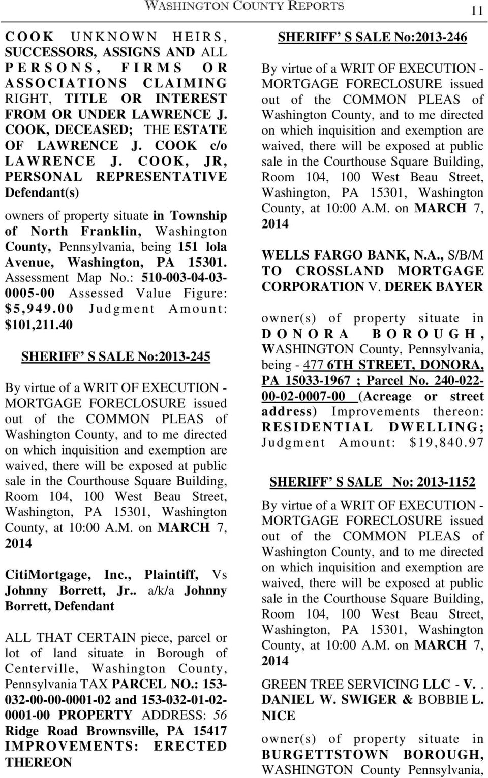 ESTATE NOTICES FIRST PUBLICATION WASHINGTON COUNTY REPORTS 5