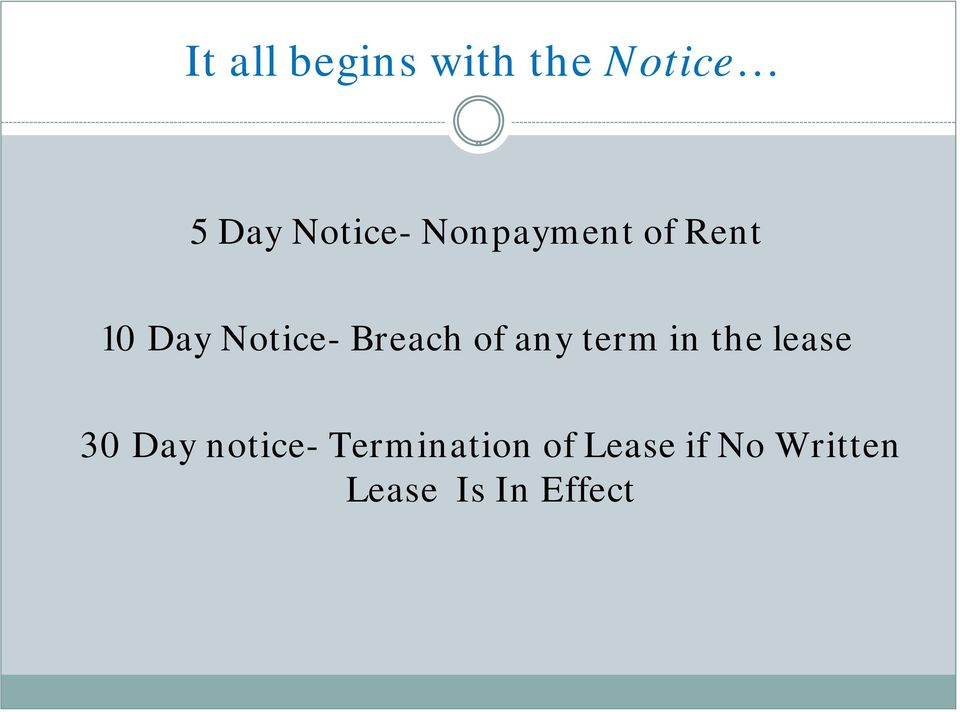 any term in the lease 30 Day notice-