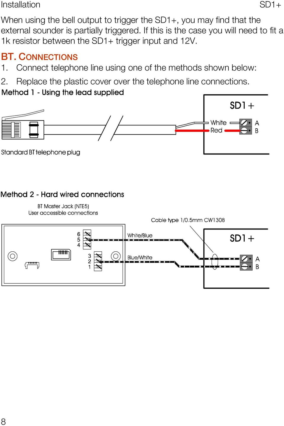 Installation And Programming Guide Pdf Uk Telephone Wiring Diagram If This Is The Case You Will Need To Fit A 1k Resistor Between Trigger