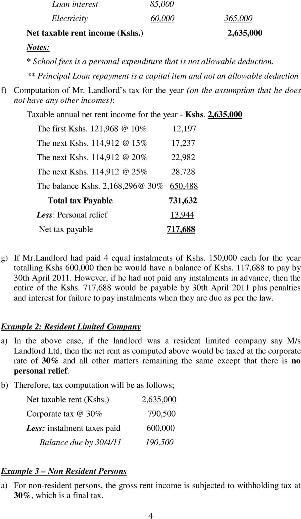 Landlord s tax for the year (on the assumption that he does not have any other incomes): Taxable annual net rent income for the year - Kshs. 2,635,000 The first Kshs.