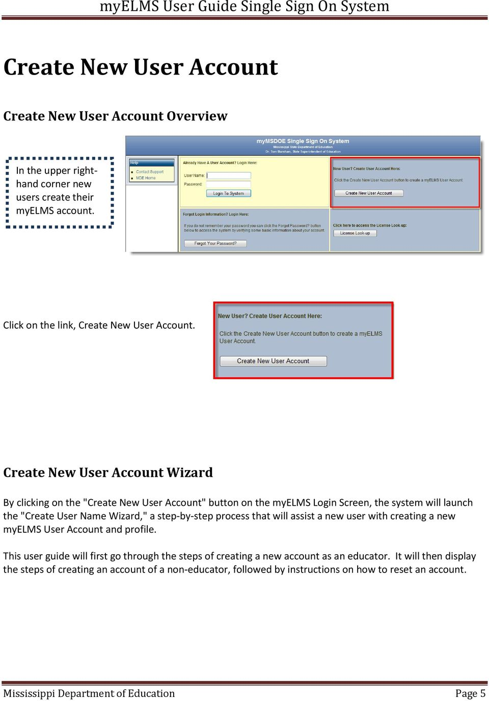 step-by-step process that will assist a new user with creating a new myelms User Account and profile.