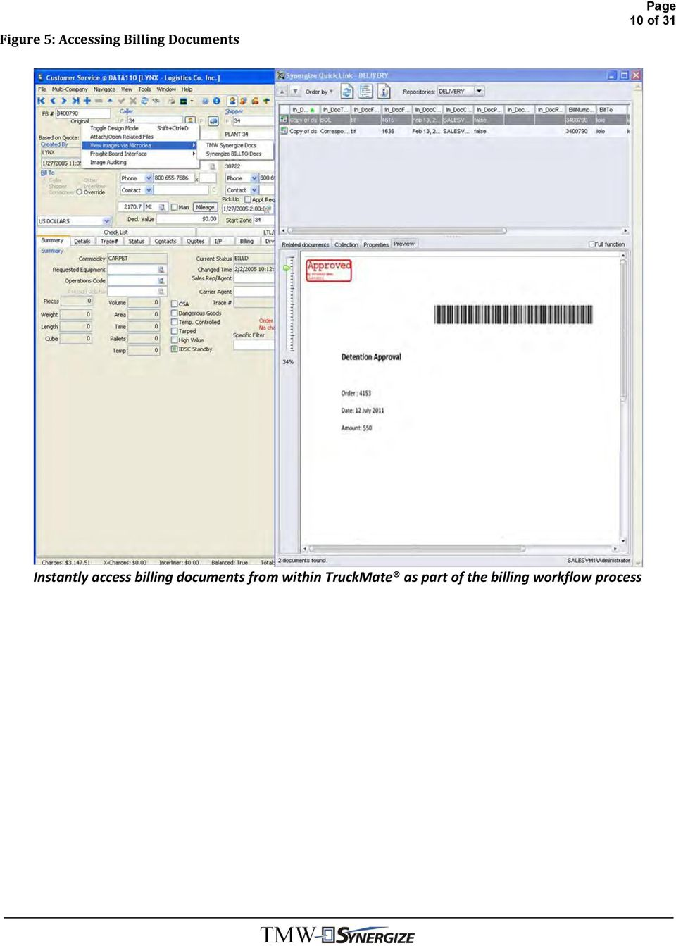 billing documents from within