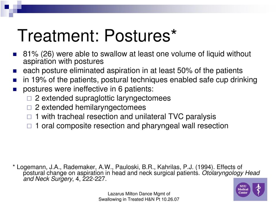 Management Of Swallowing In The Treated Head And Neck Cancer Patient