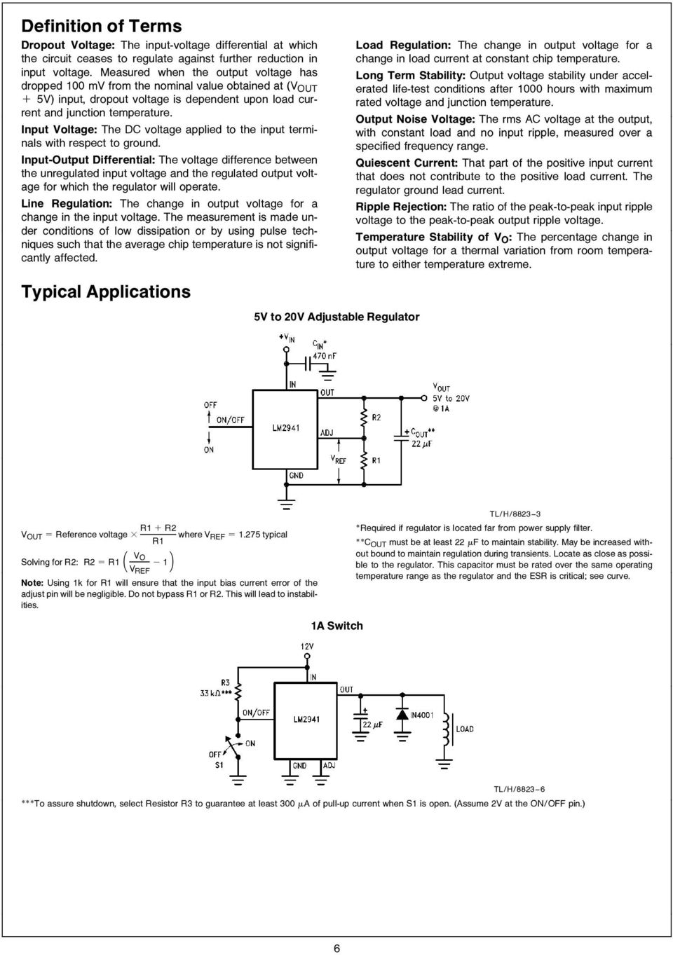 Lm2941 Lm2941c 1a Low Dropout Adjustable Regulator Pdf High Current Circuit Diagram Using Lm117 Respect To Ground Input Output Differential The Voltage Difference Between Unregulated And