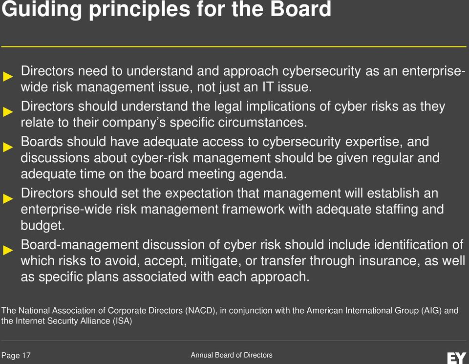 Boards should have adequate access to cybersecurity expertise, and discussions about cyber-risk management should be given regular and adequate time on the board meeting agenda.