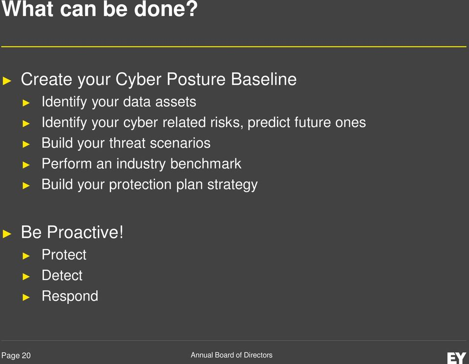 Identify your cyber related risks, predict future ones Build your