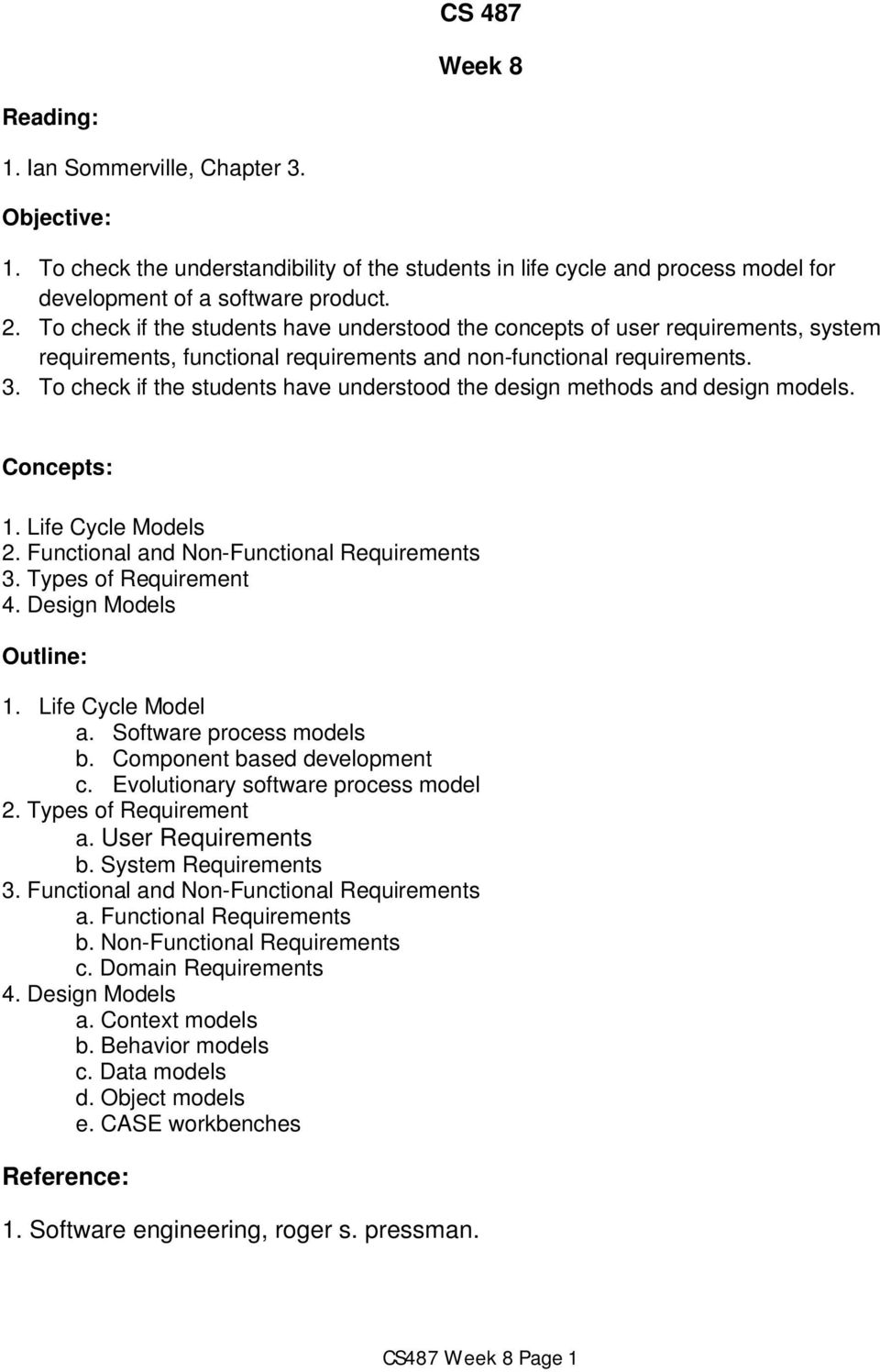 To check if the students have understood the design methods and design models. Concepts: 1. Life Cycle Models 2. Functional and Non-Functional Requirements 3. Types of Requirement 4.