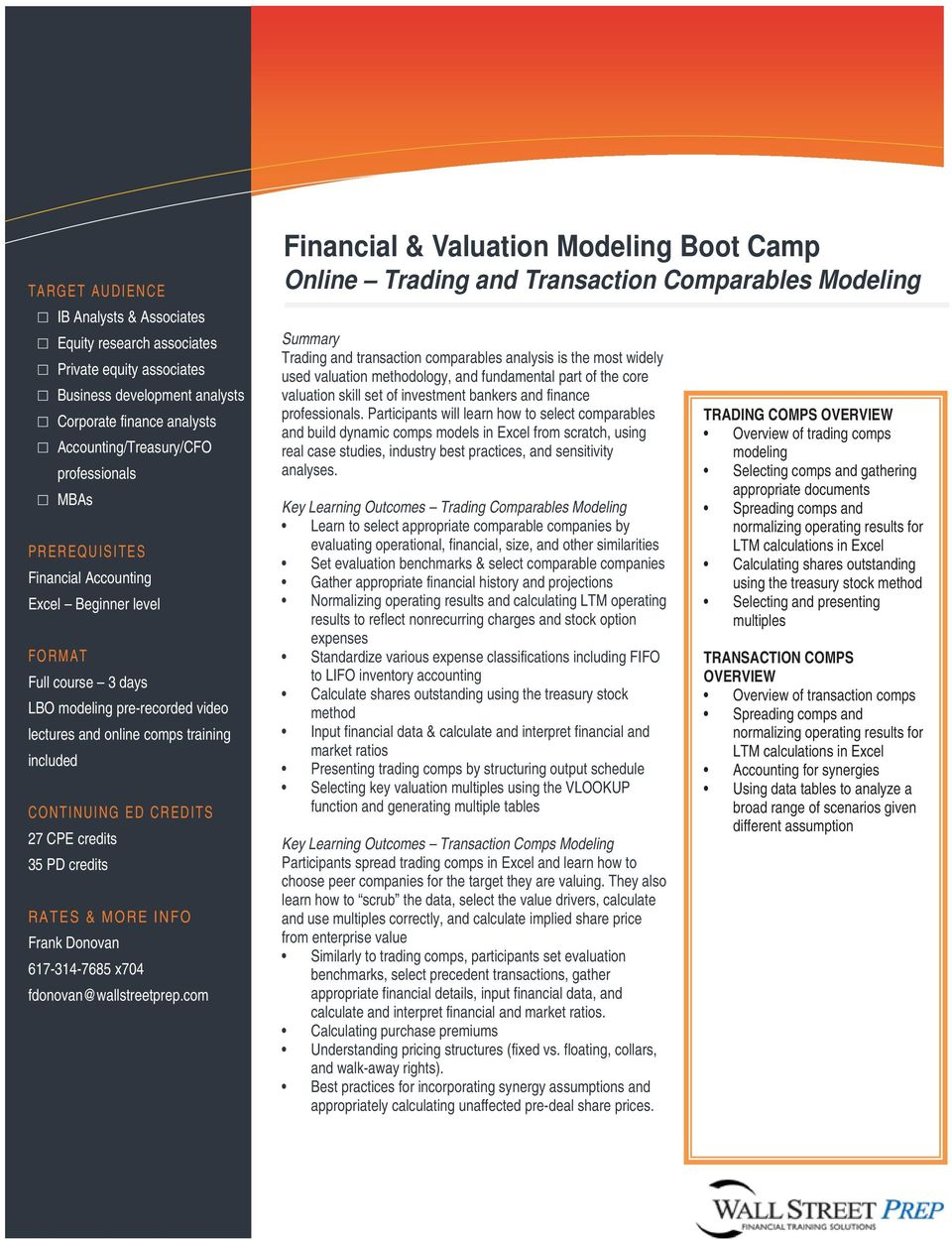 Financial & Valuation Modeling Boot Camp - PDF