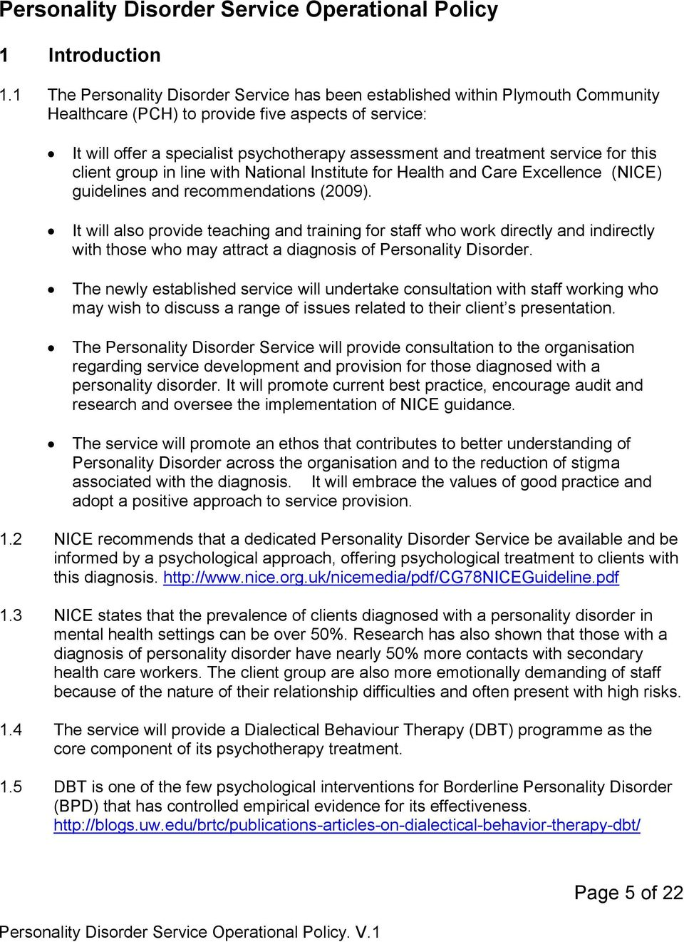 Personality Disorder Service Operational Policy  Version No