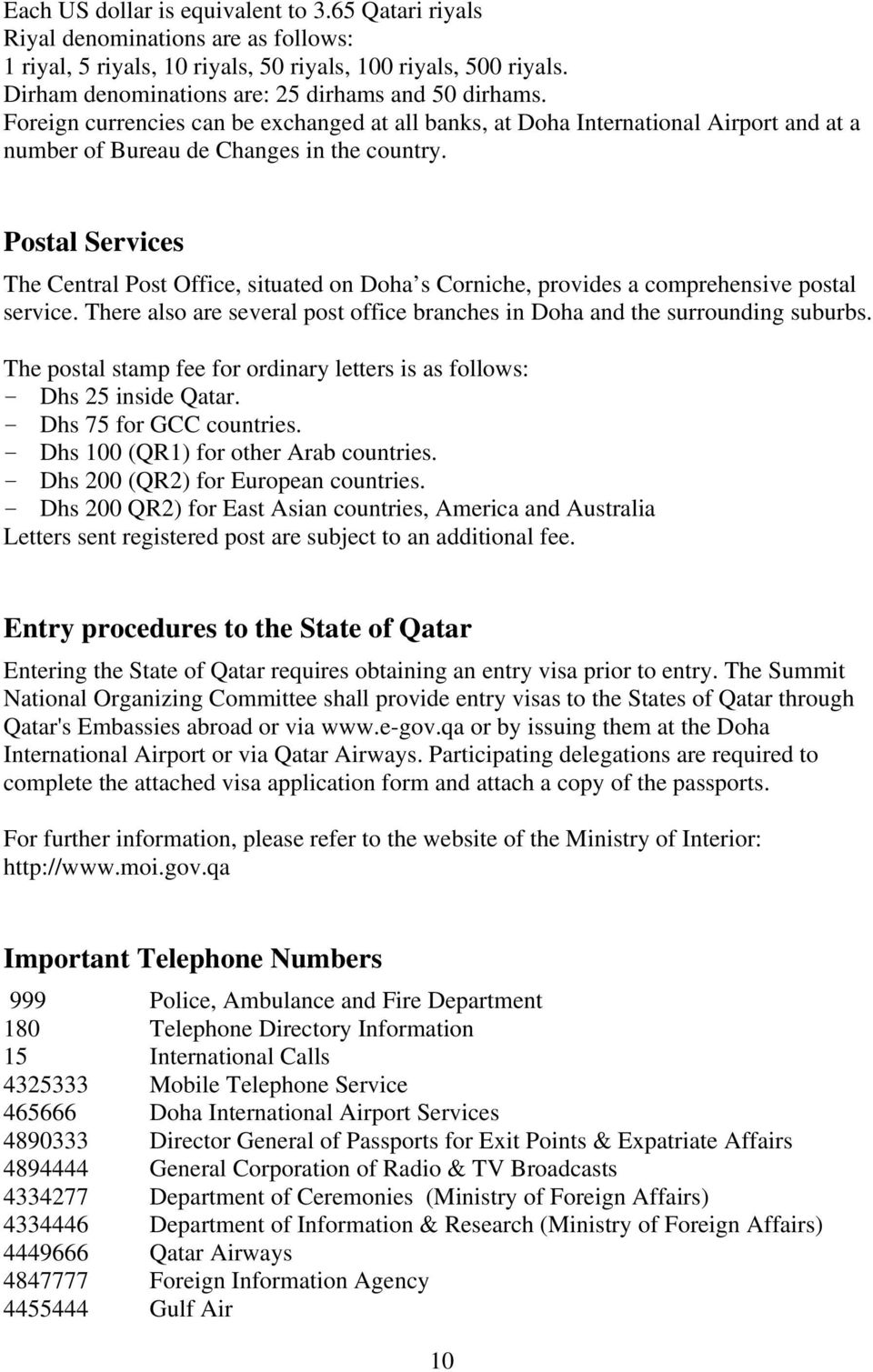 INDEX I  GENERAL INFORMATION ABOUT THE STATE OF QATAR (2