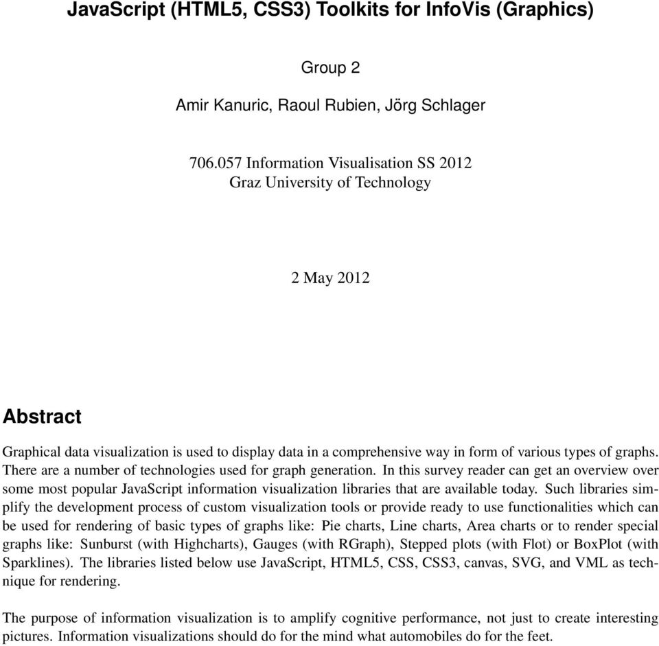 JavaScript (HTML5, CSS3) Toolkits for InfoVis (Graphics) - PDF