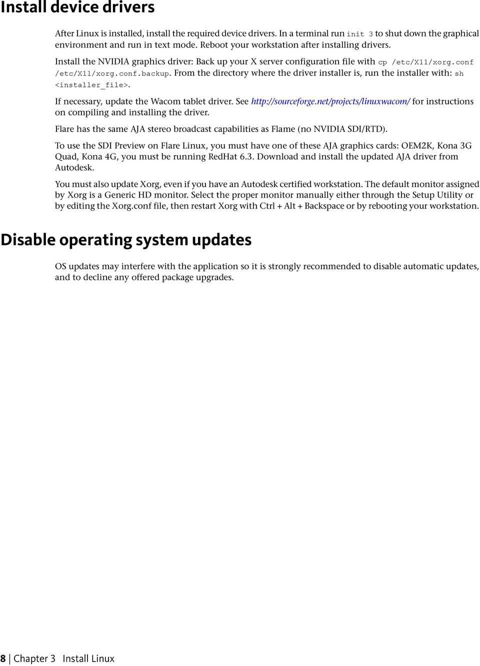 Chapter 1 Linux system requirements Chapter 2 Installation overview