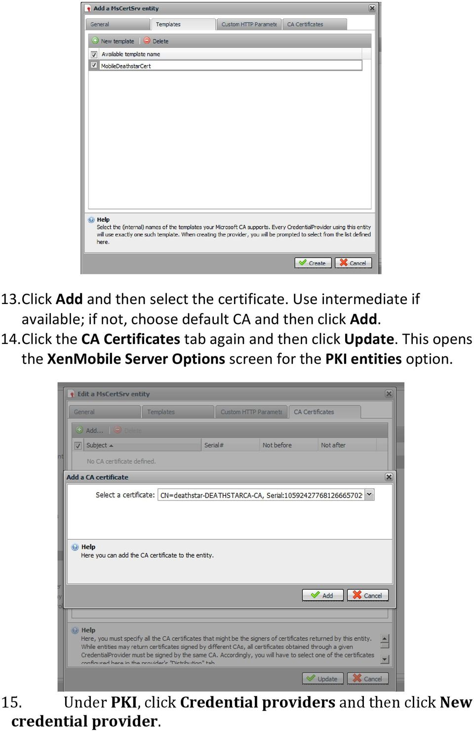 Click the CA Certificates tab again and then click Update.