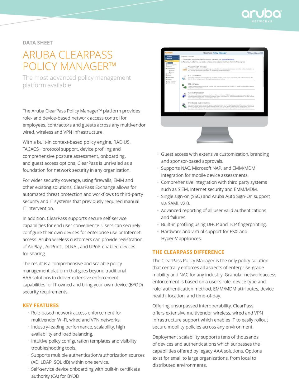 ARUBA CLEARPASS POLICY MANAGER - PDF
