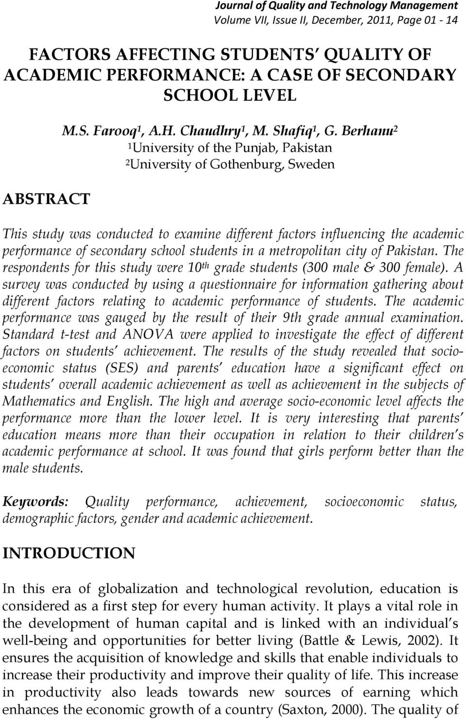 FACTORS AFFECTING STUDENTS QUALITY OF ACADEMIC PERFORMANCE