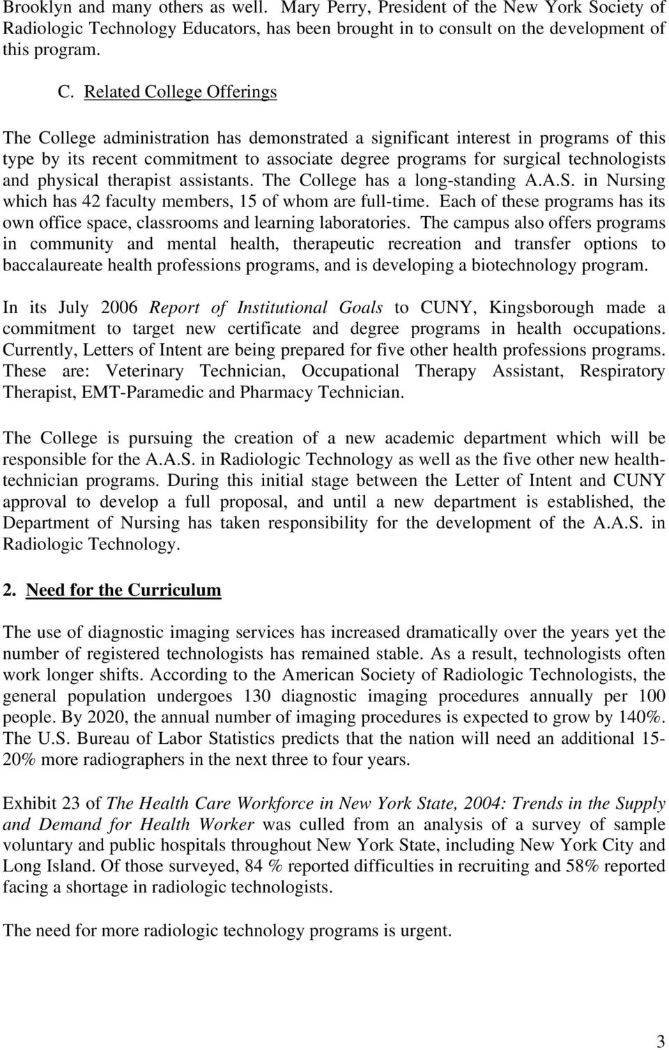 Letter of Intent  Radiologic Technician Program  AAS Degree