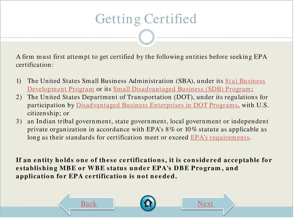 Business Enterprises in DOT Programs, with U.S.