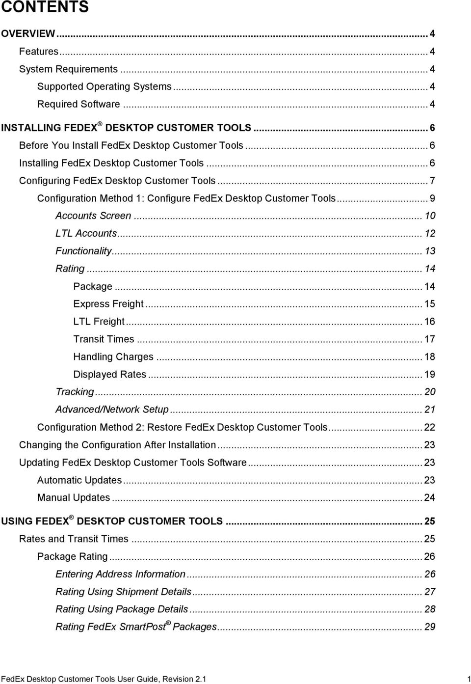 FEDEX DESKTOP CUSTOMER TOOLS USER GUIDE - PDF