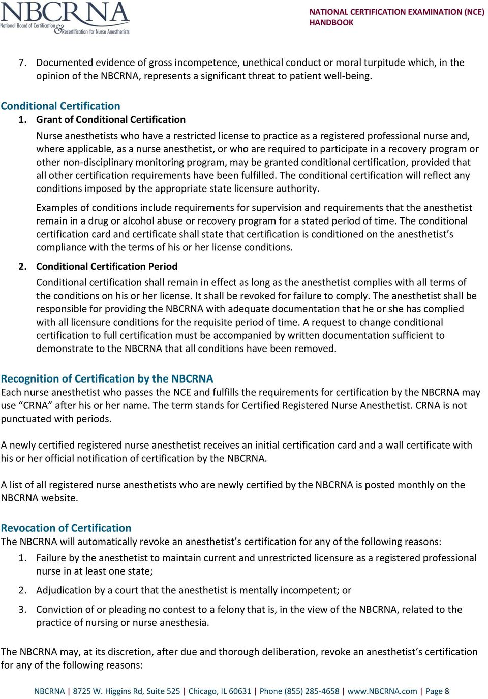 National Certification Examination Nce Handbook Pdf