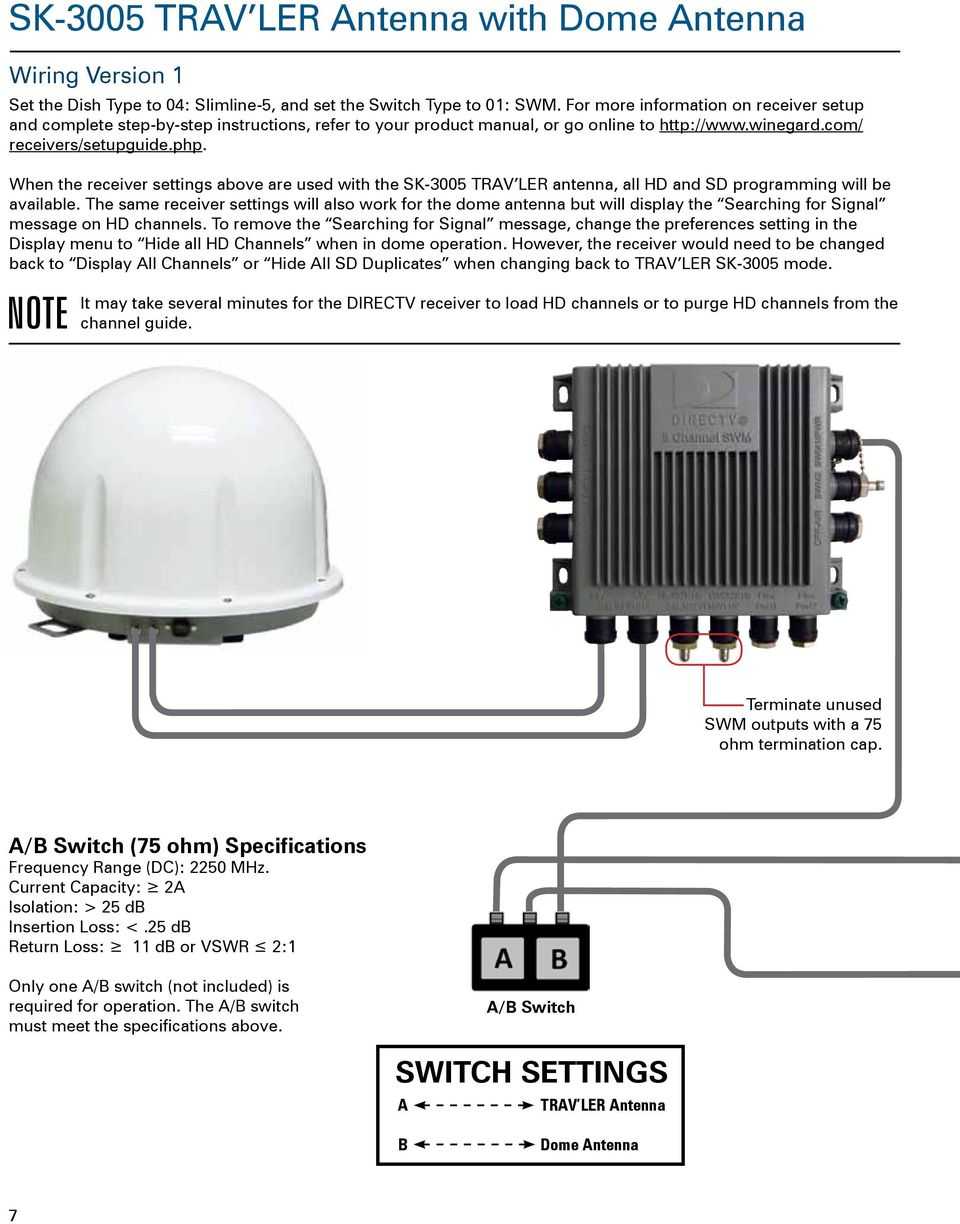 Guide For Using Directv Swm Technology With Winegard Mobile Direct Tv Wiring Diagram Swim When The Receiver Settings Above Are Used Sk 3005 Trav Ler Antenna