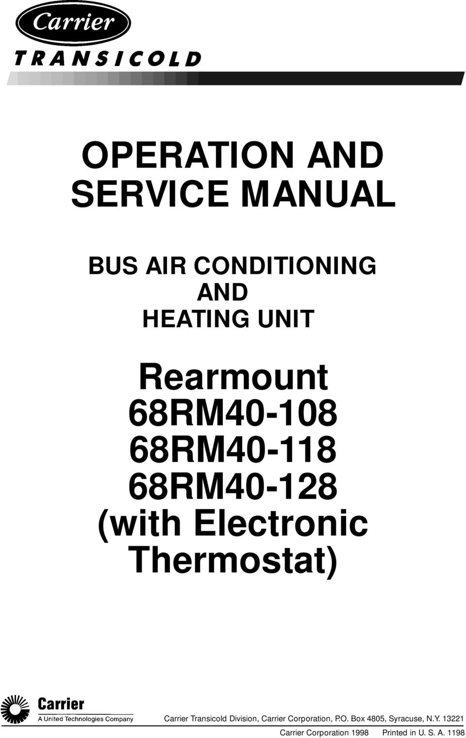 Bus Air Conditioning And Heating Unit Pdf Free Download